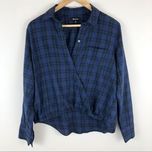 Madewell Wrap Front Shirt in Arion Plaid High Low